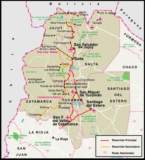 Circuito Norte Argentino En Auto : Mapa de la región norte argentina