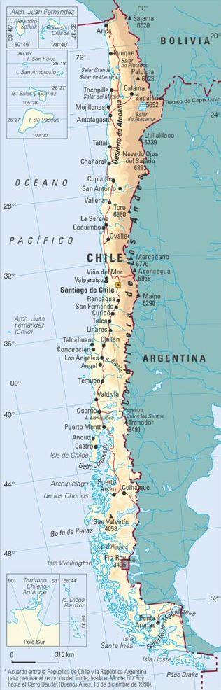 Chile mapa rios for Calles de santiago de chile