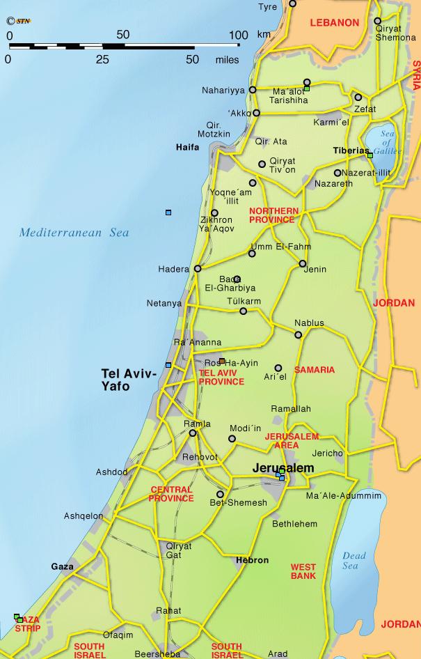 Karte Israel, Juda, Ammon, Moab, Edon
