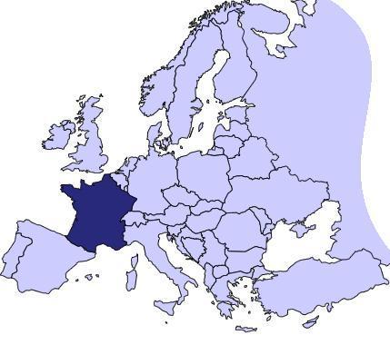 Mapa Ubicación de Francia en Europa