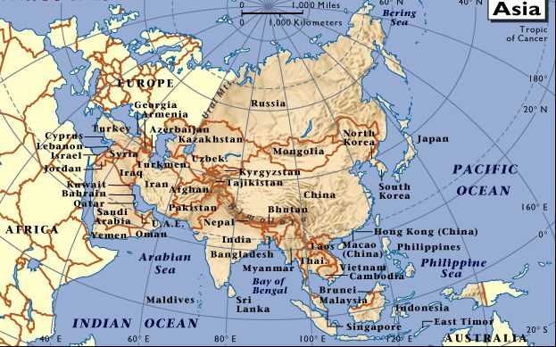 Mapas Asia China Malasia India Japn Tailandia Filipinas
