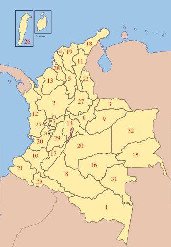 Mapa Departamentos De Colombia