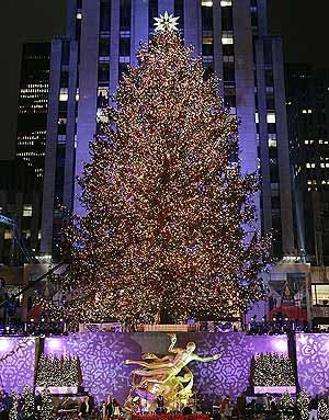 Encendido del arbol de navidad en nueva york